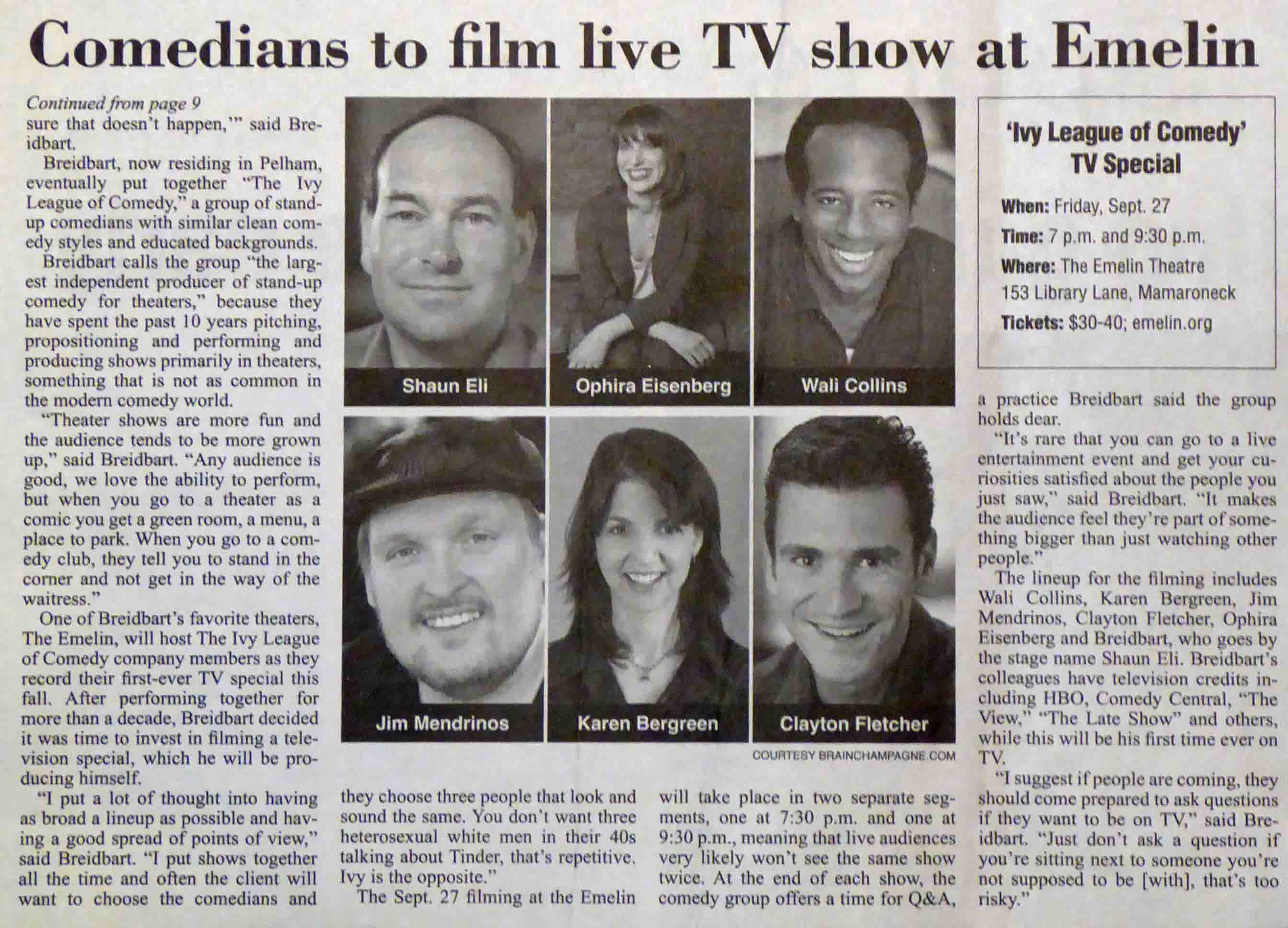 Page 2 of Scarsdale Inquirer article on Ivy League of Comedy's TV taping with photos of six comedians